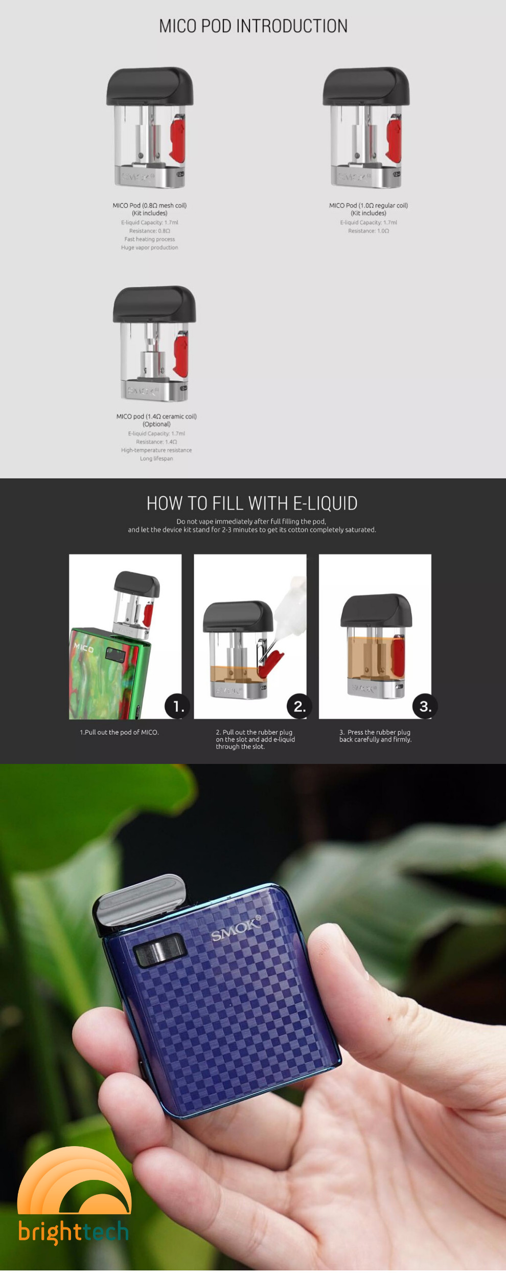 Pack of 3 pieces SMOK Mico Pod Cartridge 1.4Ω or 1.0Ω -description
