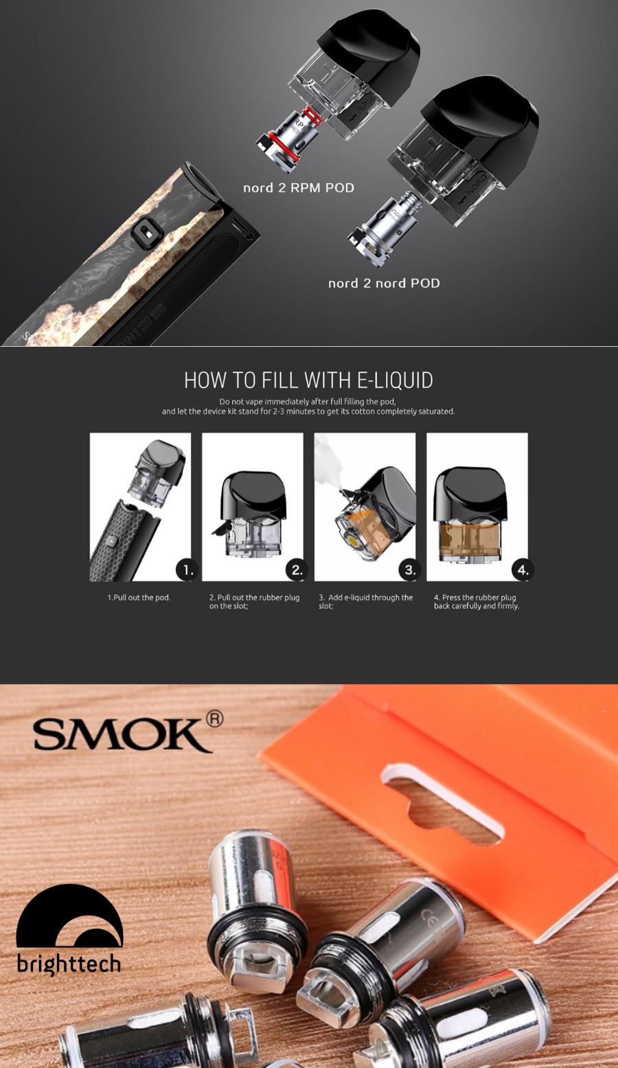 SMOK Nord 2 Nord or RPM Pod -Pack of 3 pieces description
